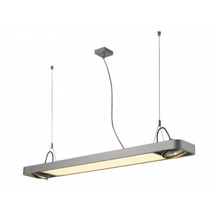 SLV Aixlight 120 R2 Office, stříbrnošedé svítidlo, 22W LED 4000K + 2x75W GU10 ES111, délka 122,5cm
