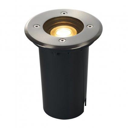 SLV Dasar 80 zápustné svítidlo do země 1xGU10 nerez, s nastavitelným směrem svícení, prům. 12cm, IP67