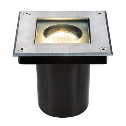 SLV Dasar 70 Square zápustné svítidlo do země 1xGU10 nerez, s nastavitelným směrem svícení, 13 x 13cm, IP67