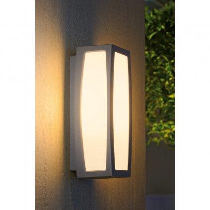 SLV Meridian box, nástěnné venkovní svítidlo, 1x20W, stříbrnošedá, 38cm, IP54