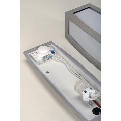 SLV Meridian box, nástěnné venkovní svítidlo se senzorem, 1x20W, stříbrnošedá, 38cm, IP54