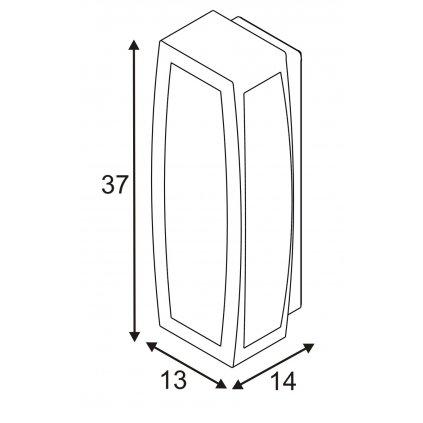 SLV Meridian box, nástěnné venkovní svítidlo se senzorem, 1x20W, antracit, 38cm, IP54