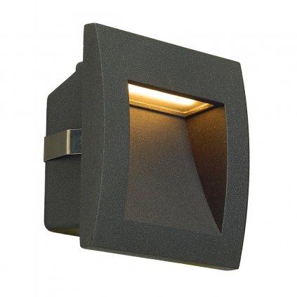 SLV Downunder Out LED S, antracitové zápustné svítidlo do stěny, 1,7W LED, 3000K, 9x9cm, IP55