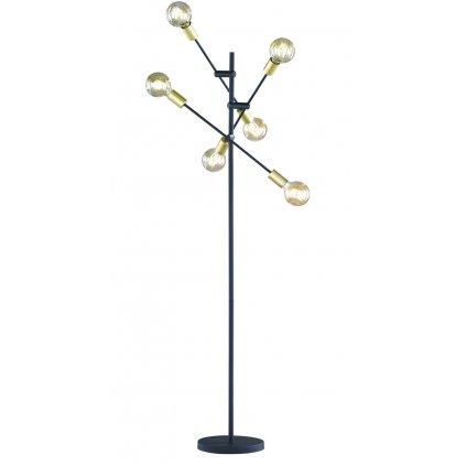 Trio Cross, stojací lampa s vypínačem, 6x40W E27, matná černá, výška 165cm