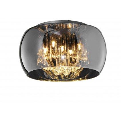 Trio Vapore, stropní svítidlo v kombinaci hnědého skla a čirých závěsů, 5x42W G9, prům. 40cm