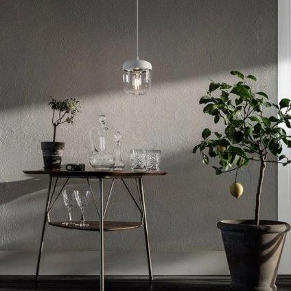 Umage Acorn stínidlo čiré sklo, bílé víčko, jádro leštěná ocel, průměr 14cm