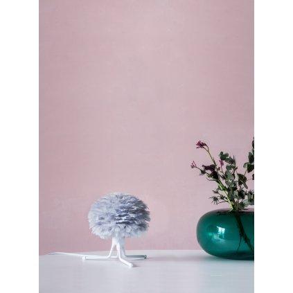 Umage Eos micro, stínidlo z šedého peří pro závěsné svítidlo, stolní a stojací lampu, 1x15W LED, prům. 22cm