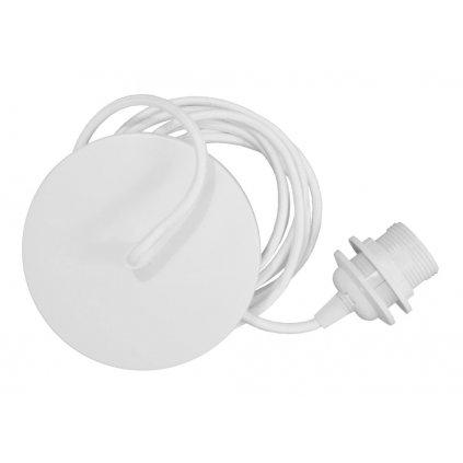 Umage, bílý závěs s kovovou rozetou a textilním kabelem  pro sestavení svítidla, 1x15W E27, 210cm