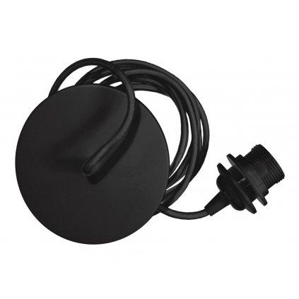 Umage, černý závěs s kovovou rozetou a textilním kabelem  pro sestavení svítidla, 1x15W E27, 210cm