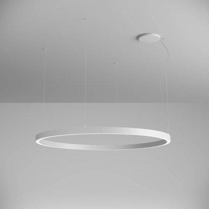 Arelux Xambit, bílé závěsné kruhové svítidlo, 97W LED 4000K, prům. 154cm