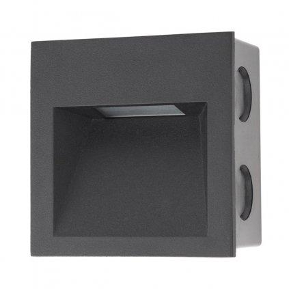 Arelux Xghost, černé interiérové zápustné svítidlo do stěny, 2W LED 3000K, 9x9cm, IP20