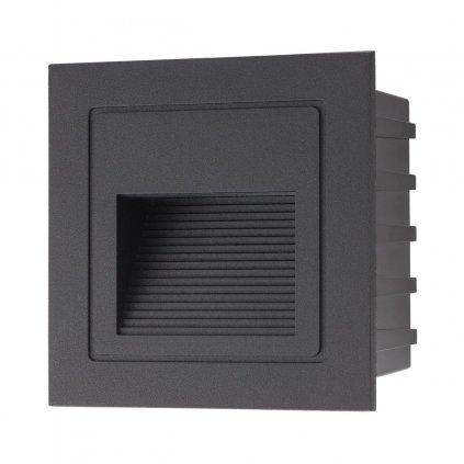 Arelux Xghost, černé venkovní zápustné svítidlo do stěny, 2W LED 4000K, 8,5x8,5cm, IP65