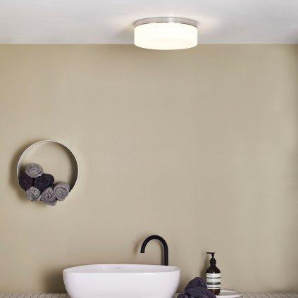 Astro Lighting Sabina 7186, kruhové stropní svítidlo do koupelny, 1x60W, chrom/ bílé sklo, prům. 28cm, IP44