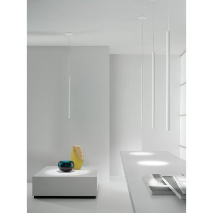 Axolight Virtus, bílé závěsné svítidlo, 3W LED 3000K stmívatelné, výška: 70,1cm