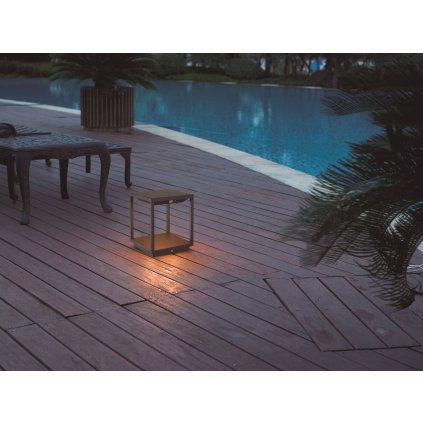 Mantra Meribel, solární grafitová stojací lampa, LED 3,5W 300lm 3000K, se senzorem výška 24,5cm, IP54