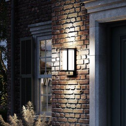 Mantra Meribel, grafitová nástěnná lampa, LED 9W 530 lm 2700K-6000K, s kamerou, wi-fi, výška 29cm, IP54