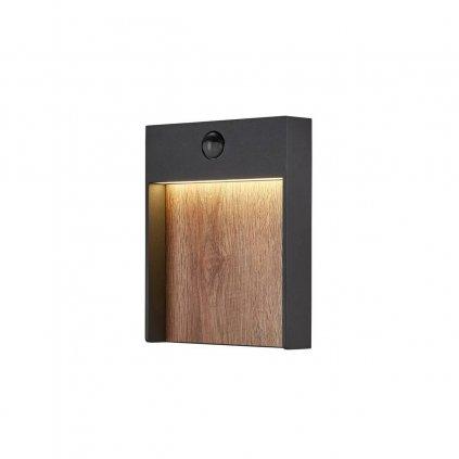 SLV Flatt, venkovní nástěnné svítidlo se senzorem, LED 14W 3000K, antracit/imitace dřeva, rozměr 18x23cm, IP65