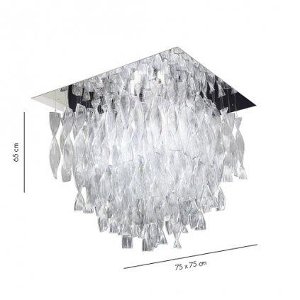 Axolight Aura, luxusní stropní svítidlo z čirého muránského skla, 4x100W E27, 60x60cm, délka 58cm