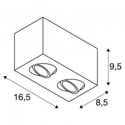 SLV Triledo, černé stropní  svítidlo, LED 14W 3000K, rozměr 8,5 x 16,3cm