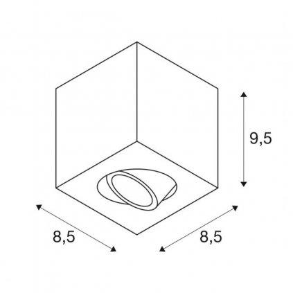 SLV Triledo, bílé stropní svítidlo, 1x GU10 max. 10W, rozměr 8,5 x 8,5cm