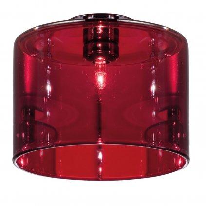 Axolight Spillray GI stropní svítidlo z červeného skla, LED 1,5W G4 průměr 14cm, zapuštěná montáž
