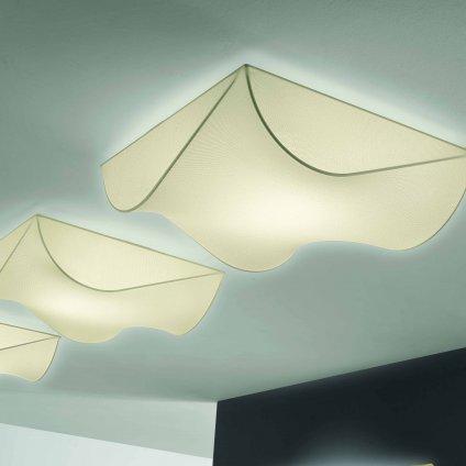 Axolight Stormy, stropní designové svítidlo z krémového textilu, 3x100W, 100x100cm