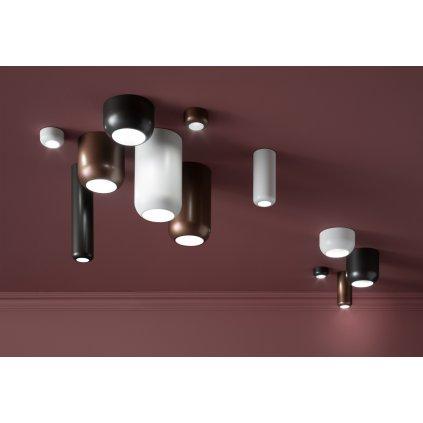 Axolight Urban Mini M, niklové stropní svítidlo, 8W LED 3000K stmívatelné, výška 16,5cm