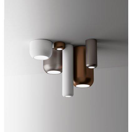 Axolight Urban Mini P, bronzové stropní svítidlo, 8W LED 3000K stmívatelné, výška 3,5cm