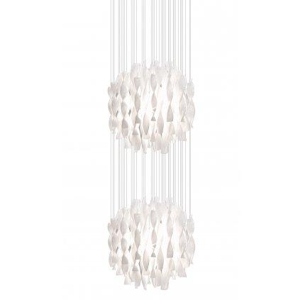 Axolight Aura, luxusní závěsné svítidlo z bílého muránského skla, 2x250W E27, prům. 60cm, délka 320cm
