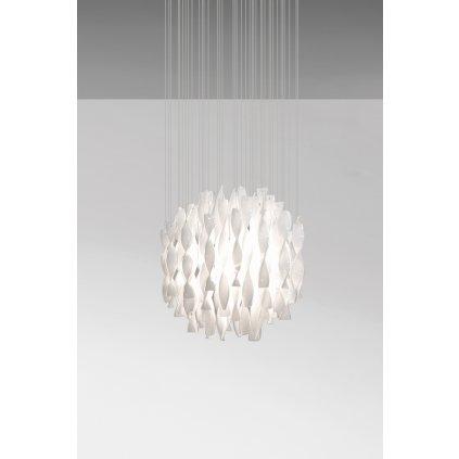 Axolight Aura, luxusní závěsné svítidlo z bílého muránského skla, 1x150W E27, prům. 60cm, délka 160cm