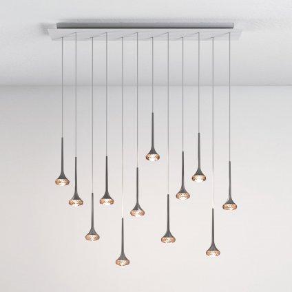 5979 4 axolight fairy designove linearni zavesne svitidlo 12x6 4w led chrom ambrove sklo delka 120cm