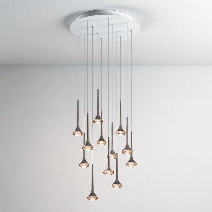 5988 4 axolight fairy designove kruhove zavesne svitidlo 12x6 4w led chrom ambrove sklo prumer 60cm
