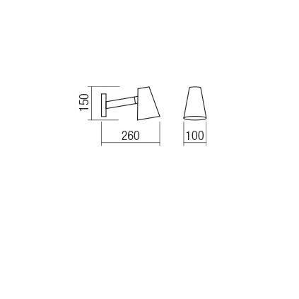 Redo Mingo, černá nástěnná lampa v severském stylu s vypínačem, 1x28W E14, délka 26cm