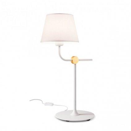 Redo Morris, bílá stolní retro lampa, 1x42W E27, výška 56cm