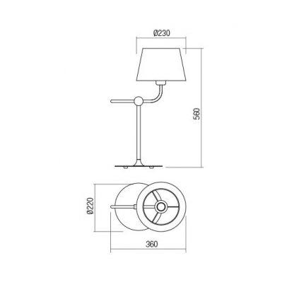 Redo Morris, černá stolní retro lampa, 1x42W E27, výška 56cm