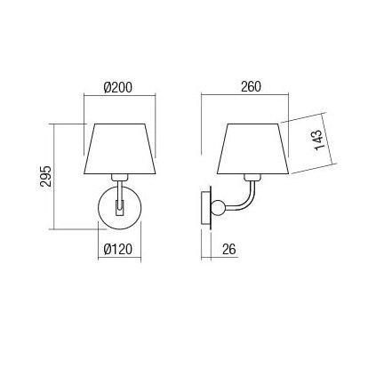 Redo Morris, černá nástěnná retro lampa, 1x42W E27, výška 29,5cm