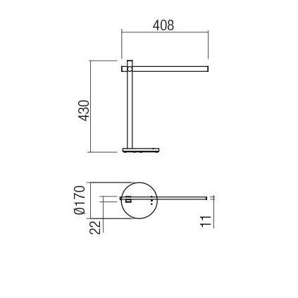 Redo Omeo, černá lampa na pracovní stůl, 7,5W LED 3000/4500/6500K, tříkrokové stmívání, 43+40cm