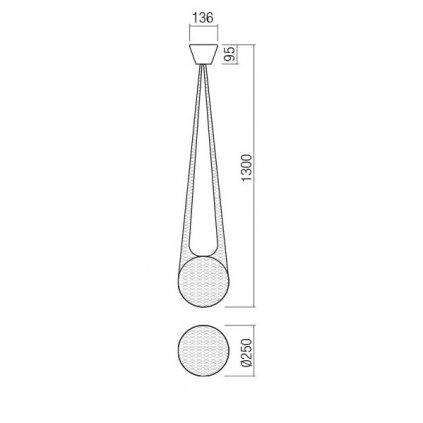 Redo Alluria, závěsné svítidlo v textilní síti, 1x42W E27, prům. 25cm