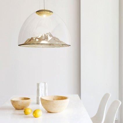 Axolight Mountain View, designové svítidlo z foukaného ambrového skla / zlatá, 16W LED stmívatelné, prům. 55cm