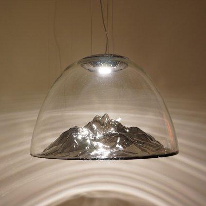 Axolight Mountain View, designové svítidlo z foukaného čirého skla / zlatá, 16W LED stmívatelné, prům. 55cm
