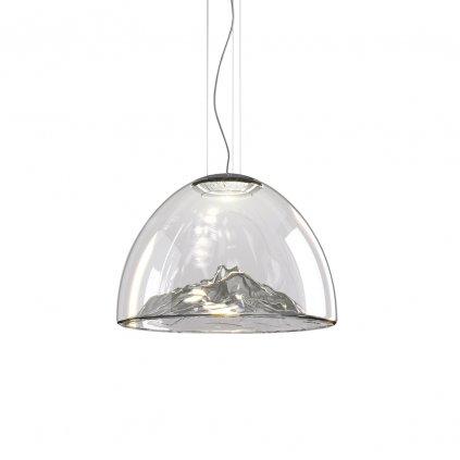 Axolight Mountain View, designové svítidlo z foukaného šedého skla / chrom, 16W LED stmívatelné, prům. 55cm