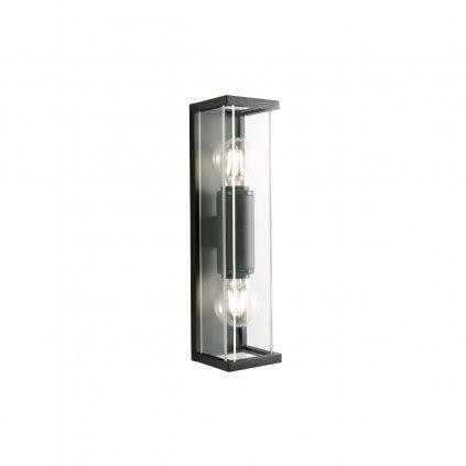 Redo Vitra, černé nástěnné venkovní svítidlo 2x E27 max. 15W, výška36cm, IP54