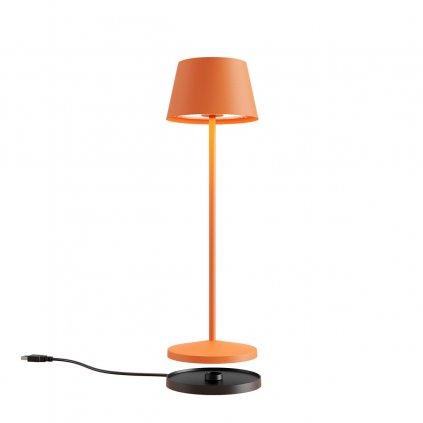 Redo La Nuit, moderní venkovní stolní lampa na baterii LED 2,2W 2700-3000K, stmívatelná, USB, svítí 9hod, kulatá oranžová, výška 36cm, IP65