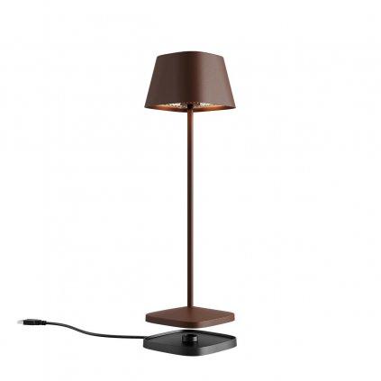 Redo La Nuit, moderní venkovní stolní lampa na baterii LED 2,2W 2700-3000K, stmívatelná, USB, svítí 9hod, hranatá cortenová, výška 36cm, výška 36cm, IP65