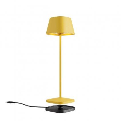 Redo La Nuit, moderní venkovní stolní lampa na baterii LED 2,2W 2700-3000K, stmívatelná, USB, svítí 9hod, hranatá žlutá, výška 36cm, výška 36cm, IP65