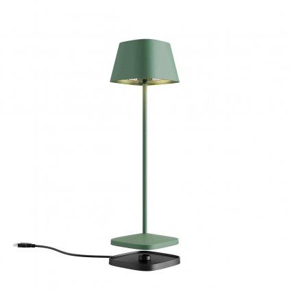 Redo La Nuit, moderní venkovní stolní lampa na baterii LED 2,2W 2700-3000K, stmívatelná, USB, svítí 9hod, hranatá zelená, výška 36cm, výška 36cm, IP65