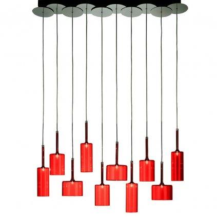 6318 5 axolight spillray 10 zavesne svitidlo z cerveneho skla led 10x1 5w g4 delka 104 5cm