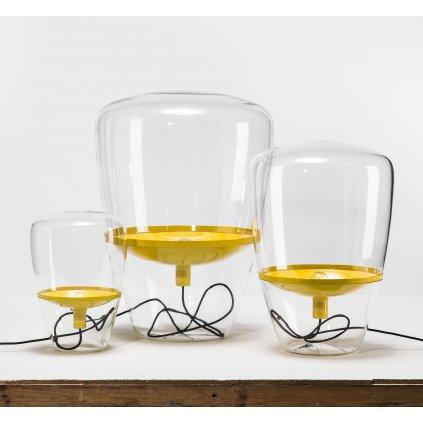 6678 6 brokis balloons large designova stojaci lampa z foukaneho skla cire sklo zluta 1x70w vyska 85cm