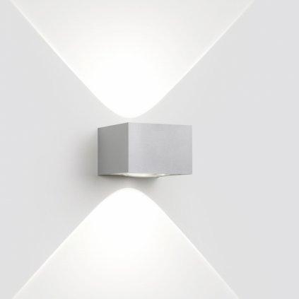 Deltalight Vision Out LED, 2x1,6W LED, 3000K, šedý hliník, šířka 12,6cm, IP55