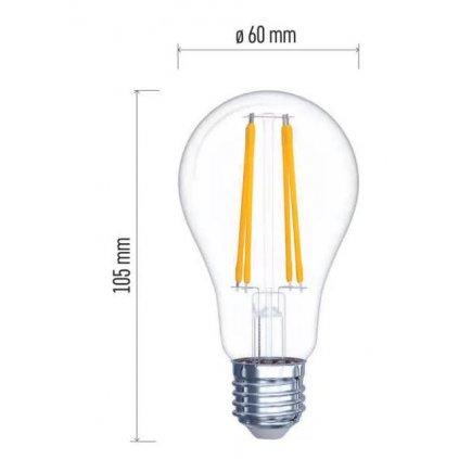 LED žárovka filament E27 8W, 1060lm, náhrada za 75W, teplá bílá 2700K